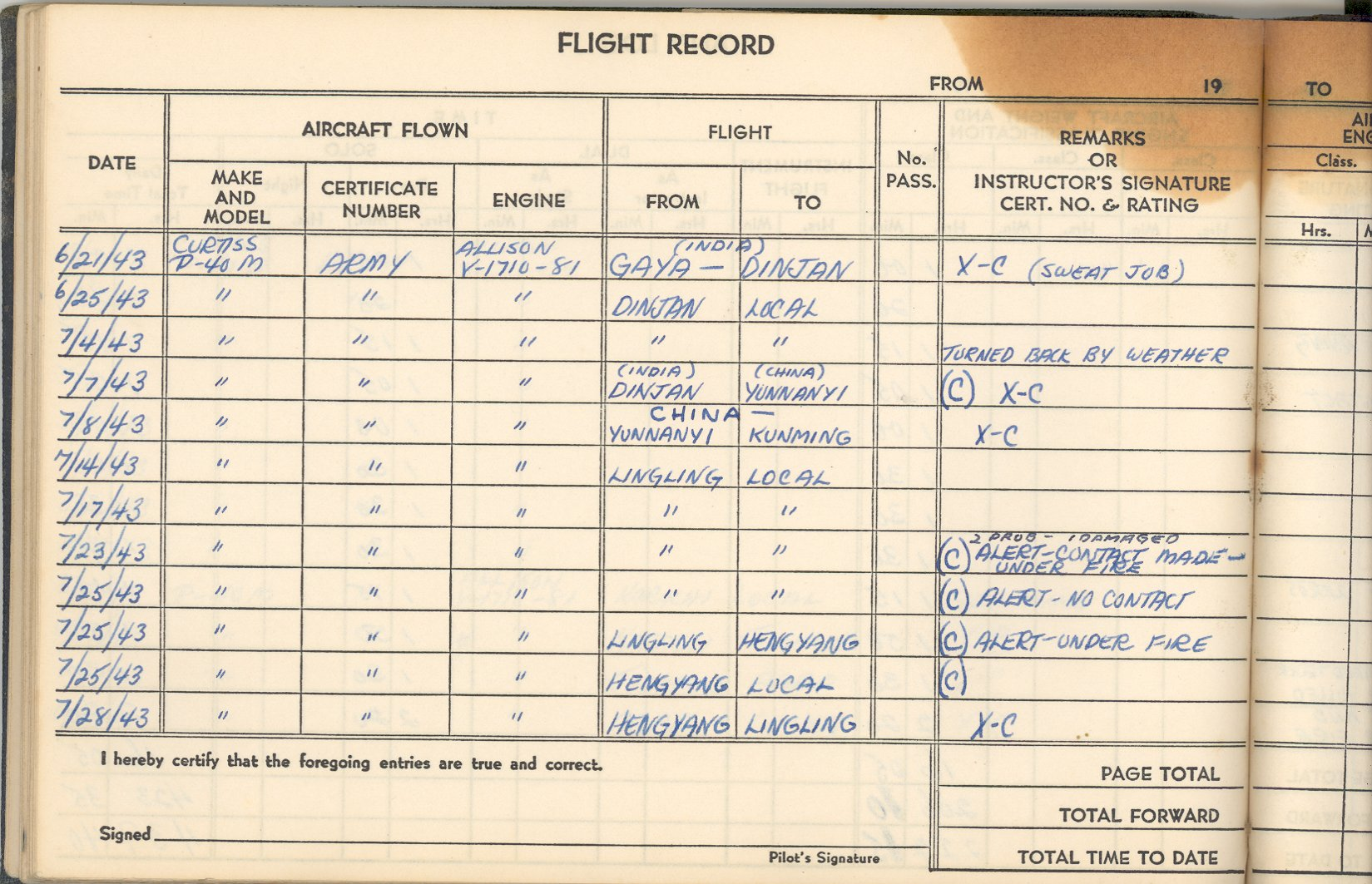 Flight Log Book The flight log